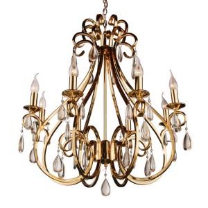 Hängeleuchte 6-flammig Gold, Pendelleuchte Gold, Hängelampe Gold, Durchmesser 65 cm