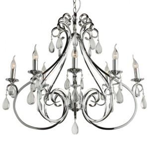 Hängeleuchte oval 8-flammig Silber verchromt, Pendelleuchte Silber verchromt, Hängelampe Silber verchromt oval, Breite 84 cm