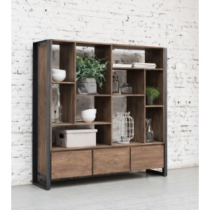 Regal Industrie, Bücherregal Metall Holz, Breite 150 cm