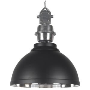 Pendelleuchte schwarz - silber Industrie-Lampe, Hängelampe schwarz Industrie, Durchmesser 42 cm