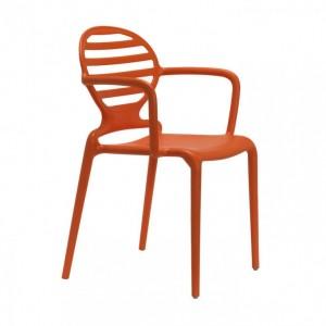 Gartenstuhl orange Kunststoff, Stuhl mit Armlehne orange für den Garten