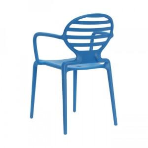 Gartenstuhl blau Kunststoff, Stuhl mit Armlehne blau für den Garten