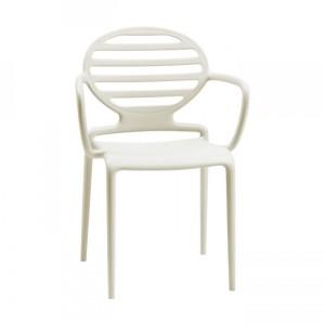 Gartenstuhl weiß-leinen Kunststoff, Stuhl mit Armlehne für den Garten