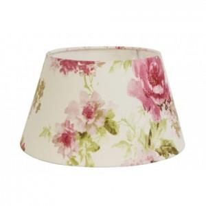 Lampenschirm blumig rund für Tischleuchte, Lampenschirm weiß-blumig, Durchmesser 20 cm
