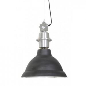 Hängelampe schwarz-silber,  Pendelleuchte silber Industrie, Hängeleuchte schwarz Metall, Durchmesser 47 cm