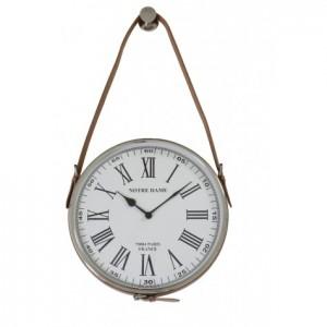 Wanduhr mit Schnalle silber, Uhr Landhausstil,  Maße 30 cm