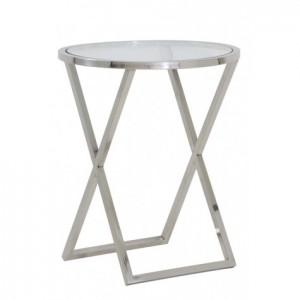 Beistelltisch Silber Glas-Metall verchromt, Beistelltisch verchromt Glas, Durchmesser 50 cm