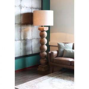 Stehlampe Holz mit Lampenschirm, Stehleuchte mit Zylinder-Lampenschirm