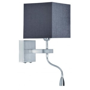 Wandleuchte, Metall silber-satiniert, Lampenschirm anthrazit + LED Leselampe