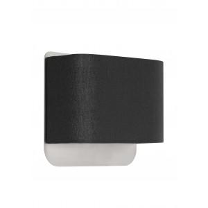 Wandleuchte, Metall silber-satiniert, Lampenschirm schwarz