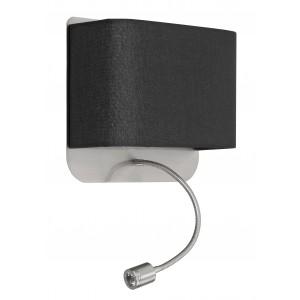 Wandleuchte, Metall silber-satiniert, Lampenschirm schwarz + LED Leselampe