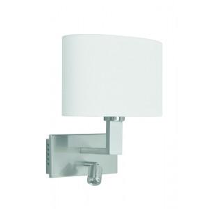 Wandleuchte, Metall silber-satiniert, Lampenschirm weiß + LED Leselampe