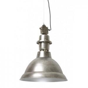 Hängelampe silber,  Pendelleuchte silber Industrie, Hängeleuchte Metall, Durchmesser 47 cm
