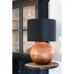 Tischlampe Kupfer, Tischleuchte mit schwarzen Lampenschirm, Durchmesser 25 cm