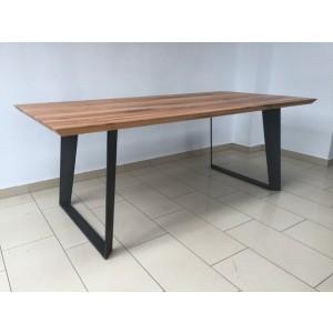 Esstisch Eiche Tischplatte, Tisch Massiv-Eiche Gestell Metall, Maße 180 x 90 cm