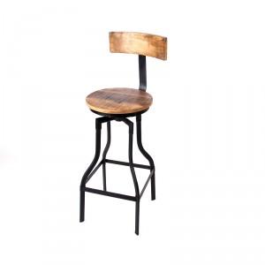 Barhocker aus Massivholz im Industriedesign, 76 cm Sitzhöhe