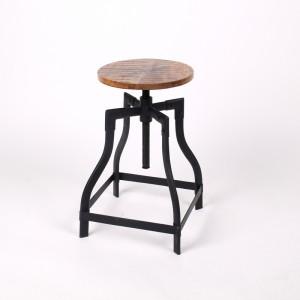 Barhocker aus Massivholz im Industriedesign, Sitzhöhe ca. 48-70 cm
